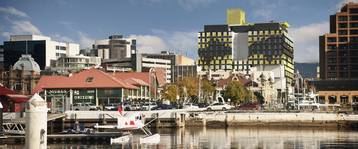 View of K Block from Hobart wharf area