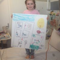 Six year old Matilda's drawing is about the new K-Block, the children's ward and the helipad.
