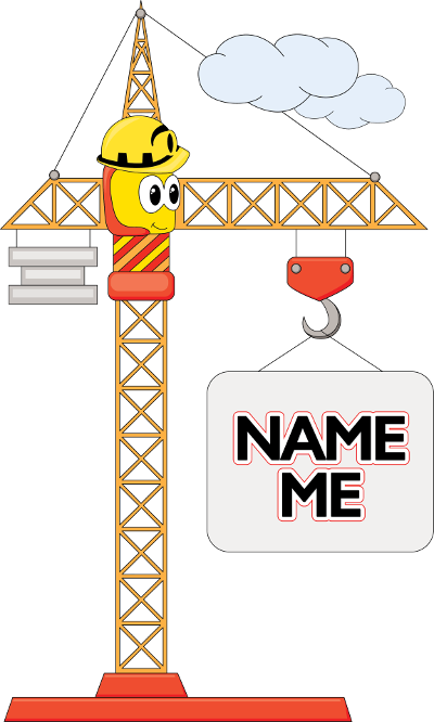 Cartoon of a crane, contains the words 'name me'.