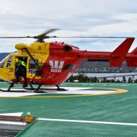 Westpac Rescue helicopter conducting a touchdown to test spring supports of the helipad during verification testing