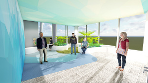 Architectural image of the outdoor area on the closed mental health ward on level 3 of K-Block. It shows views through floor to ceiling windows, a landscaped area with grass and ferns, an area where people can sit down and a number of people standing in the area. The colour scheme used is soothing blues and greys.