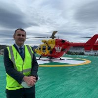 Dr Marcus Skinner on the helipad